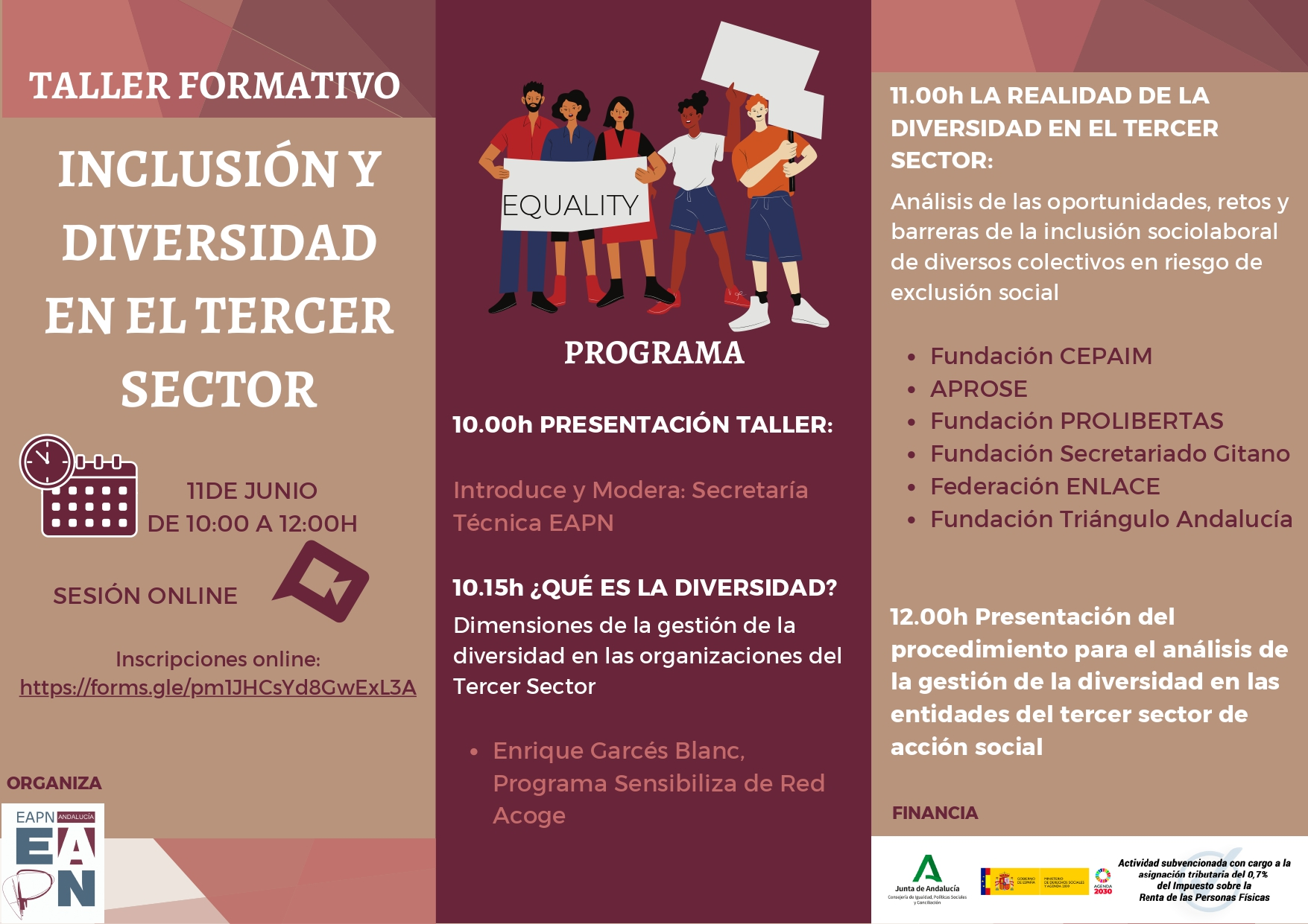 Taller formativo «Inclusión y Diversidad en el Tercer Sector»
